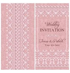 Baroque wedding invitation pink vector