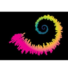 Spiral rainbow waveform vector