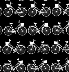 Vintage bicycles seamless pattern black and white vector