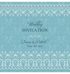 Baroque wedding invitation blue vector