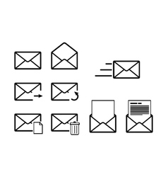 Set of envelope outline icons for mail interface vector