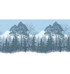 Seamless winter woodland landscape vector