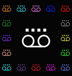 Audio cassette icon sign lots of colorful symbols vector