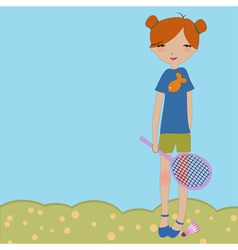 Little girl playing outdoors vector