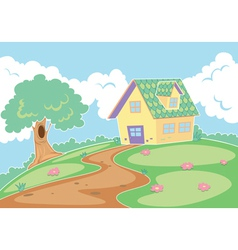A house in a nature vector
