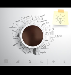 Coffee cup on drawing business strategy vector