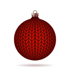 Red knitted christmas ball vector