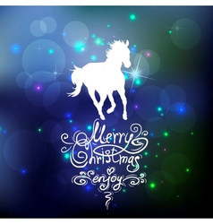 Christmas background with a silhouette of horse vector