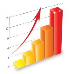 3d bar chart vector