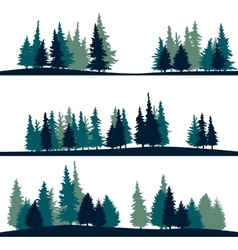 Set of different landscape with fir-trees vector