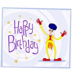Afro clown birthday greeting vector