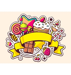 Pile of sweets and ribbon on light backgr vector