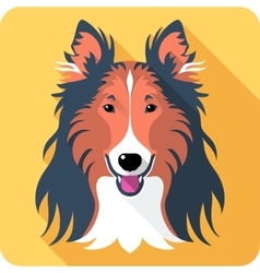 Dog rough collie icon flat design vector