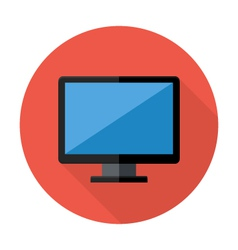 Desktop flat circle icon vector
