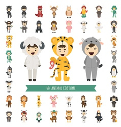 Set of 40 animal costume characters vector