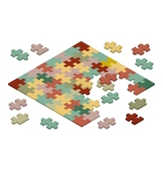 Isometric jigsaw puzzle vector