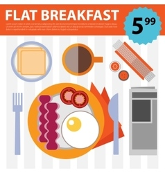 Retro flat breakfast eggs and bacon vector