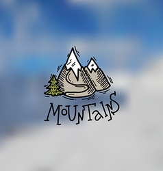 Mountains emblem vector