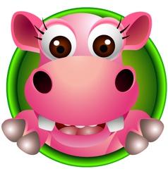 Cute hippo head cartoon vector