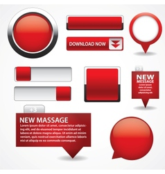 Blank red web buttons for website or app vector