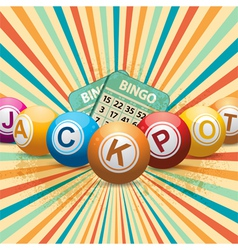 Bingo balls and cards on retro starburst vector