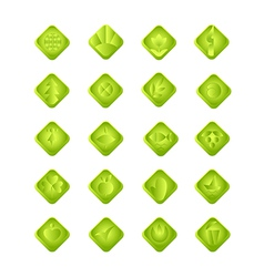 Green gradient web and computing icons with vector