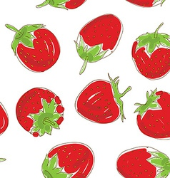 Seamless pattern set red strawberries on a white vector
