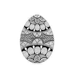 Zentangle stylized black easter egg hand drawn vector