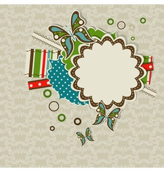 Template greeting card scrap vector