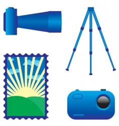 Digital photo camera and tripod vector
