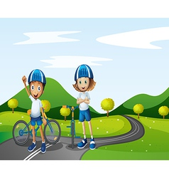 A boy and a girl biking vector
