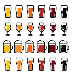 Beer glasses different types icons - lager stout vector
