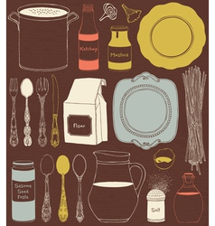 Cookware and food ingredients vector