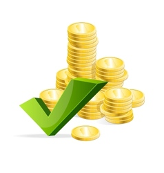 Coins stack and check mark vector