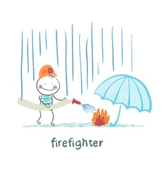 Firefighter stands in the rain and extinguish the vector