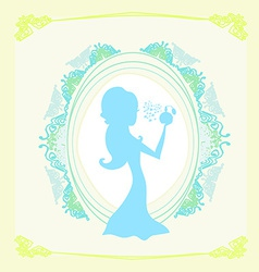 Beautiful woman spraying perfume - silhouette vector
