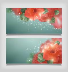 Shining flowers roses banner vector