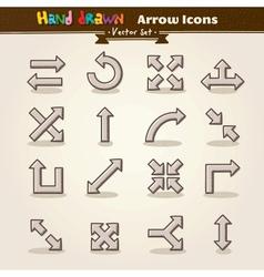 Hand draw arrow icon set vector