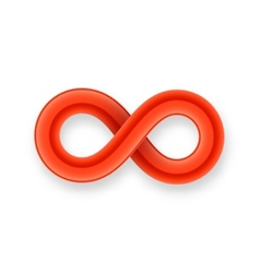 Red infinity symbol icon from glossy wire with vector