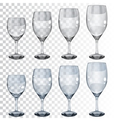 Set of empty transparent glass goblets for wine vector