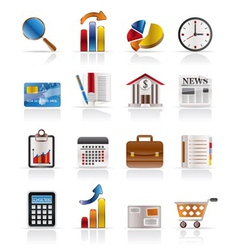 Business and office realistic internet icons vector