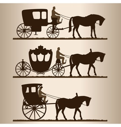 Carriages silhouettes vector