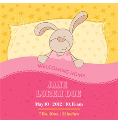 Baby arrival card - sleeping bunny vector