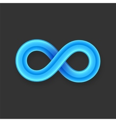 Blue infinity symbol icon from glossy wire with vector