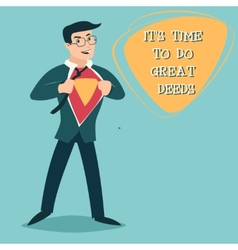 Happy smiling businessman turns in superhero suit vector
