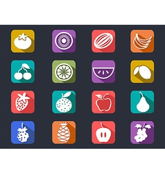 Fruit flat icons set with long shadow vector
