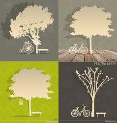 Set of abstract tree background vector