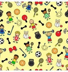 Sport equipment and children vector
