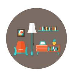 Living room flat circle icon over brown vector