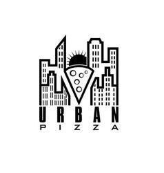 Urban pizza with sun design template vector